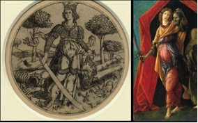 Giuditta con la testa di Oloferne, acquaforte fiorentina, 1465 ca., London, The British Museum. Sandro Botticelli, Giuditta con la testa di Oloferne, tempera su tavola, 1497-1500 ca., Amsterdam, Rijksmuseum.