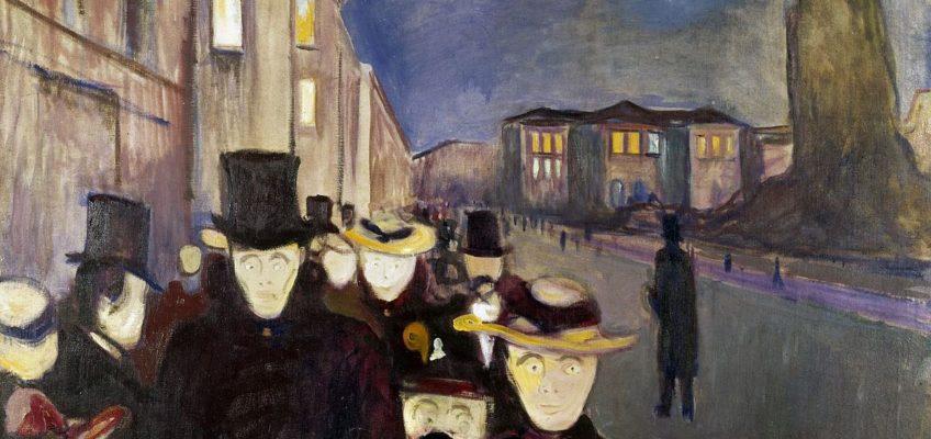 Munch, Sera sul viale Karl Johan, 1892.