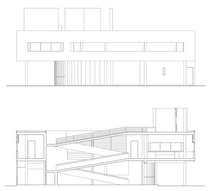 Villa Savoye, Le Corbusier. Prospetto e sezione Fonte immagine: inexhibit.com