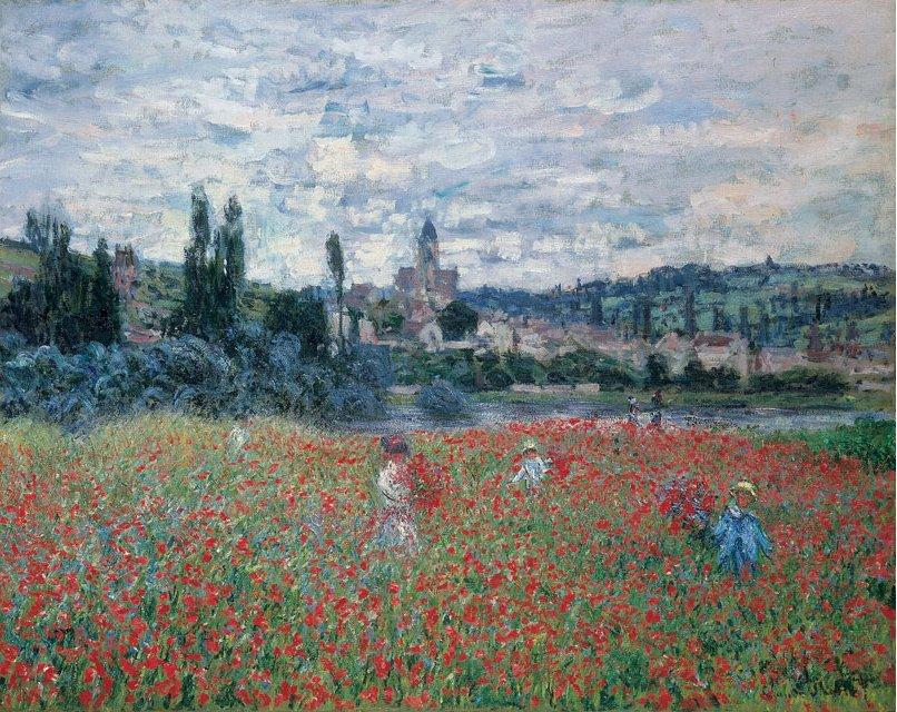 Claude Monet, Les coquelicots près de Vétheuil, 1880.